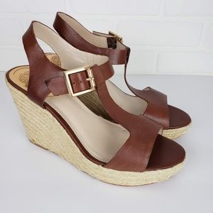 Vince Camuto Brown Leather Slingback Wedge 9